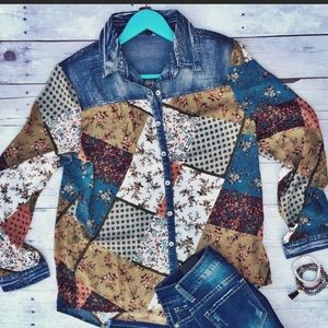 Stained glass flannel jean shirt nwot